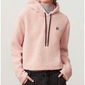 Fila Ember Crop Hoodie Sherpa Fleece Pink
